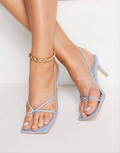 strappy blue wedding shoe with square toe