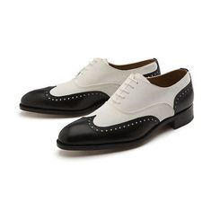 New Handmade Men's Black And White Full Brogue Leather Lace Up Dress Shoes