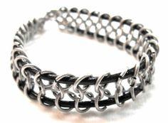 snake's bones - 1 colore bracciale da uomo anellini in metallo,cuoio chainmail