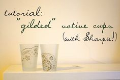 """giled"" candle holders decorated with sharpie... have to do this!"