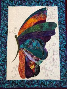 Isn't this butterfly quilt so beautiful? Small Quilts, Mini Quilts, Patchwork Patterns, Quilt Patterns, Quilting Projects, Quilting Designs, Art Quilting, Butterfly Quilt Pattern, Bird Quilt