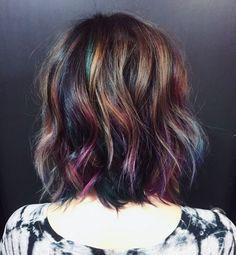 Oil Slick Hair Color for Short Hair