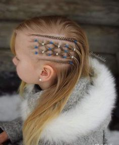 Peinados Elastics and cornrows inspired by 😊 . Baby Girl Hairstyles, Girl Haircuts, Trendy Hairstyles, Braided Hairstyles, Viking Hair, Natural Hair Styles, Long Hair Styles, Girls Braids, Toddler Hair