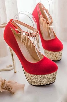 Elegant Rhinestone Embellished Metallic High Heels