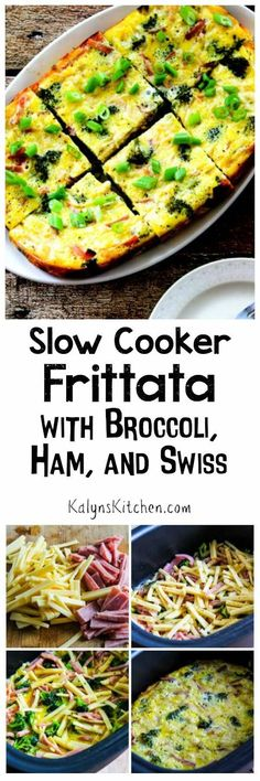 This Slow Cooker Frittata with Broccoli, Ham, and Swiss is the perfect thing to make with leftover ham. You can make this in the Crock-Pot Casserole Crock Slow Cooker, the Ninja Cooker, or just any large oval slow cooker. [found on KalynsKitchen.com]