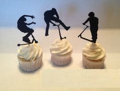 Extreme Scooter Silhouette Cupcake Toppers  sports Party Picks baby shower wedding birthday  toothpicks decor-in Event & Party Supplies from Home & Garden on Aliexpress.com | Alibaba Group