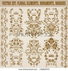 Set of vector damask ornaments. Floral elements, borders, crowns for design. Page decoration.