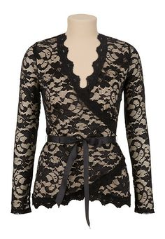 Long Sleeve Floral Lace Wrap Top - maurices.com