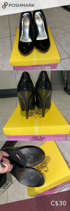 Black shiny closed toe heels Gently worn Not Just A Pump black shiny closed toe heel. Size 6. In 9/10 condition. No scuffs in material. not just a pump Shoes Heels