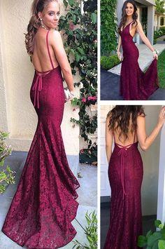 c5dff6c6093 Gorgeous Mermaid Burgundy Lace Long Evening Dress