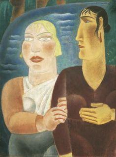Leendert 'Leo' Gestel (Woerden 1881-1941 Hilversum) De vriendinnen; verso potloodschets van paard en stier - Kunsthandel Simonis en Buunk, Ede (Nederland).