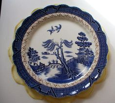 Pair #Booths Old Willow Plates A8025, £10.00 by Ann Shirley:   Pair of Booths Real Old Willow plates around 10 inches across.  This Pattern number A8025 comes in two versions, this version, without gilding was produced for a short time between 1944-1946 when gold was in short supply. They are in good condition for their age with a surface crack on the back of one and a few signs of normal wear, nothing which detracts too much from these lovely old plates. Would make...