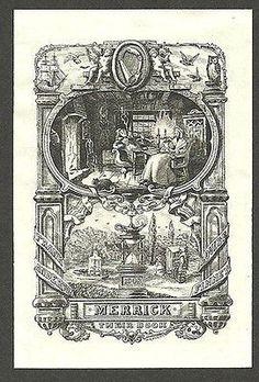 1908 Antique Bookplate William F. Hopson Artist ex libris Decorative Graphic Art