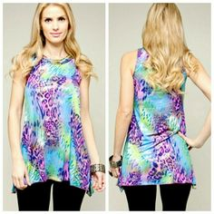 |New| Bold Printed Spring Top Beyond beautiful in person! Great for spring/summer! - bold purples, pinks, greens - flowy material, very flattering  - brass elements on neckline BOHO - HURRY before they're gone! Tops Tank Tops