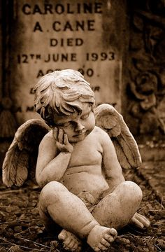 At Cemetery Cherub, once again it's extremely sad for little Caroline, she's missed out on the entirety of her life, however her Spirits shall forever protect and watch over her! It's truly sad that she had to leave this way! Cemetery Angels, Cemetery Statues, Cemetery Headstones, Old Cemeteries, Cemetery Art, Angel Statues, Graveyards, Angels Among Us, Angels And Demons