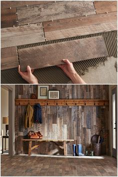 "Rustikale Holzwand … Nun, so wird ""Holzverkleidung"" gemacht Rustic wooden wall … Well, this is how ""wood paneling"" is made. Wood Grain Tile, Tile Wood, Rustic Tiles, Wood Look Tile Bathroom, Kitchen Tile, Kitchen Modern, Rustic Backsplash Kitchen, Mosaic Bathroom, Bathroom Signs"