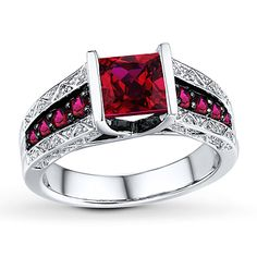 Lab-Created Rubies Square-cut Sterling Silver Ring 119/normal 149 kays