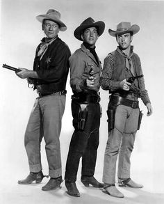 John Wayne, Dean Martin and Ricky Nelson. Promotional Shot for 'Rio Bravo' 1959.