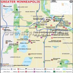 Map showing the location of Airports, Hotels, tourist places in Greater Minneapolis