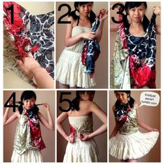 Pinch the center of the scarf, lift up and tie a knot. Then with the knot facing your body, tie two ends around your neck and other two ends around your waist. Scarf Top, Scarf Shirt, Scarf Tying Tutorial, Diy Clothes Alterations, Convertible Clothing, Head Scarf Tying, How To Wear Scarves, Tie Dress, Scarf Styles