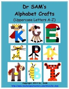 This set includes 26 crafts for every uppercase letter from A to Z! It's a complete alphabet set with the following crafts: A-Alligator, B-Bee, C-Caterpillar, D-Duck, E-Elf, F-Fox, G-Goat, H-Horse, I-Iguana, J-Jaguar, K-King, L-Llama, M-Mouse, N-Night, O-Octopus, P-Penguin, Q-Quail, R-Rooster, S-Snake, T-Tiger, U-Umbrella, V-Vase with Violets, W-Wagon with Watermelon, X-X-ray Fish, Y-Yorkie, Z-Zebra.