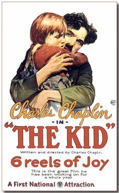 """Cartaz oficial do filme """"O Garoto"""", apresentado em 1921."""