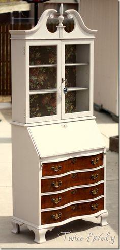 pretty refurbished secretary desk. love the wallpaper on the back of the shelves!
