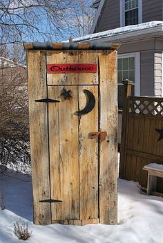 outhouse used for a gardening tool shed, storage ideas, woodworking projects, outhouse wood projects gardening sheds (Tool Shed Plans) Diy Storage Shed Plans, Storage Building Plans, Garden Tool Storage, Building A Shed, Garden Tools, Storage Ideas, Garden Sheds, Garden Art, Garden Junk
