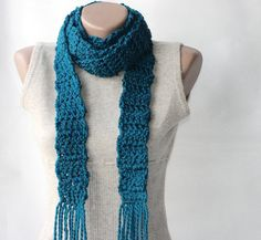 Very pretty.  Teal crochet scarf Wool blend long scarf Deep by violasboutique, $18.00