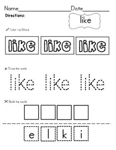 40 sight word practice pages... color, trace, & build!$