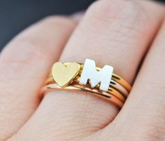 gold heart ring Initial ring letter ring alphabet by JubileJewel Wedding Anniversary Rings, Diamond Anniversary, Wedding Rings, Star Necklace, Dainty Necklace, Pendant Necklace, Gold Heart Ring, Gold Rings, Bridesmaid Rings