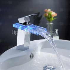 Sprinkle® by Lightinthebox - Color Changing LED Waterfall Bathroom Sink Faucet | LightInTheBox