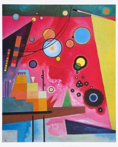"My Kandinsky inspired art mural is based on his painting ""Heavy Red"". Color and tape together to make your own copy of Kandinsky's masterpiece. Wassily Kandinsky, Poster Prints, Art Prints, Posters, Art Abstrait, Art Moderne, Art Graphique, Art Plastique, Art Lessons"