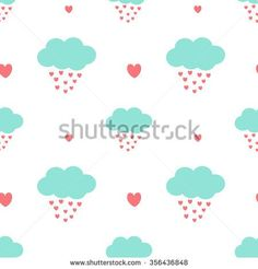 cute cartoon clouds drops hearts romantic and lovely seamless vector pattern background illustration - stock vector
