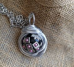 Silver Pendant, Wire Wrapped Bead Necklace, Handmade - pinned by pin4etsy.com