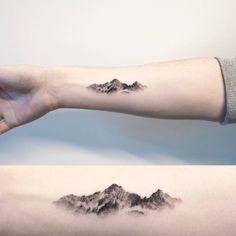 I'm...Bye — smalltattooscom: Mountain tattoo on the right...