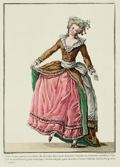 Young Lady performing a dance; she is dressed in a Carmelite* morning Lévite, the Trim of the same fabric, the Collar gathered muslin with a large hem, petticoat of pale pink silk trimmed with the same, white Belt with colored fringe. (1782)