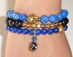 Lapis Howlite Semiprecious Gemstone Beaded Bracelet by rockstarsz, $26.99