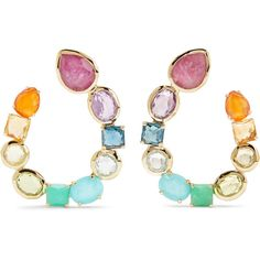 Ippolita Rock Candy 18-karat gold multi-stone earrings (17.115 RON) ❤ liked on Polyvore featuring jewelry, earrings, accessories, 18k earrings, dot jewelry, rock jewelry, earring jewelry and 18 karat gold jewelry