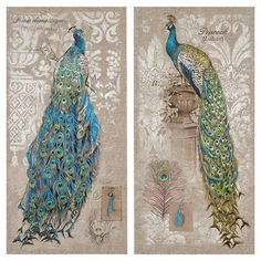 These beautiful canvas prints showcase regal peacocks with jewel-toned plumage highlighted by subtle damask motifs and script details.