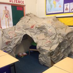 Cave Stone Age display Class Displays, School Displays, Classroom Displays, Reading Corner Classroom, 3rd Grade Classroom, Stone Age Boy, Dinosaur Display, Survival Kit For Teachers, Role Play Areas