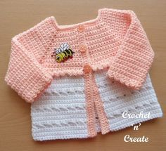 A sweet and cozy crisscross matinee coat, this cute baby sweater can be crocheted up in no time at all, leave open or fasten with the three small buttons ...