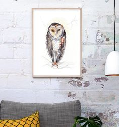 Meet Hoo the nocturnal Australian Barn Owl - lovingly hand-painted  in watercolours, gouache and pencil. NEW art prints have been released >>Check them out >>> #sherylcoleart #etsyseller #owl #owllovers #barnowl #watercolors