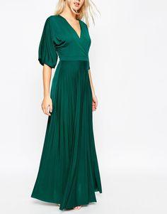 Image 3 ofASOS Maxi Dress with Pleated Hem and Kimono Sleeve