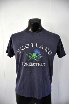 1fb56a115 Amazing Burnout Vintage TShirt Scotland CT Connecticut 80s Faded navy Blue  Nature Farming Earth Tee