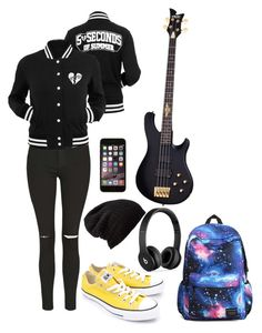 """""""5SOS School"""" by thaisa-tcs ❤ liked on Polyvore featuring Topshop, Converse, Free People and Beats by Dr. Dre"""