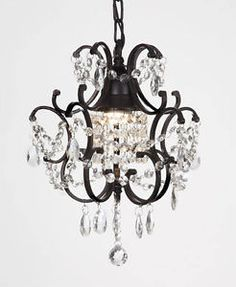 Shop for Wrought Iron Crystal Mini Chandelier Lighting With Pink Crystal x Get free delivery On EVERYTHING* Overstock - Your Online Ceiling Lighting Store! Get in rewards with Club O! Plug In Chandelier, Black Chandelier, Modern Chandelier, Chandelier Lighting, Chandelier Ideas, Farmhouse Chandelier, Chandelier Bedroom, Lighting Store, Bathroom Lighting