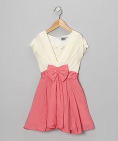 Pink & White Rhinestone Bow Dress - Girls