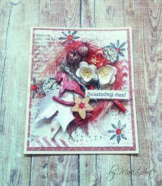 Christmas Card... Môjaktuálny príspevok na ScrapArt.cz   prináša inšpiráciu v podobemixed media vianočných pozdravov v červeno-bielej farebnej kombinácii...