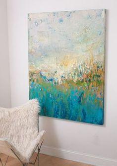 obras pictóricas en interiores// esta obra igual de sutil que la anterior está hecha para ser el centro de atención de el espacio mientras que realza la textura del mueble que la acompaña